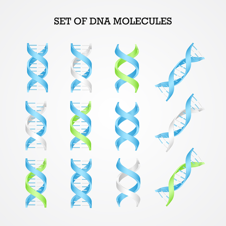 Human DNA molecule symbols set, genetics elements and icons collection Illustration