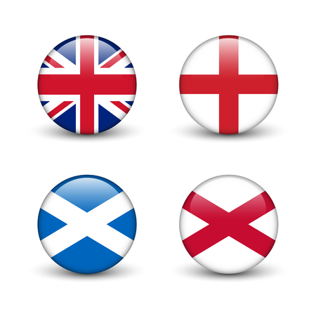 United Kingdom flag -England, Scotland, Ireland. Union Jack. Round glossy buttons with shadow.