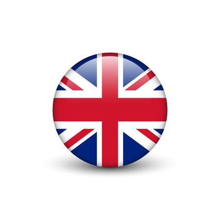 Bandera de Reino Unido, Union Jack, botón redondo brillante con sombra