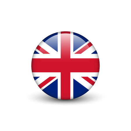 national identity: United Kingdom flag, Union Jack, glossy round button with shadow