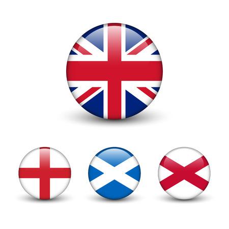 United Kingdom flag -England, Scotland, Ireland. Union Jack. Round glossy buttons with shadow