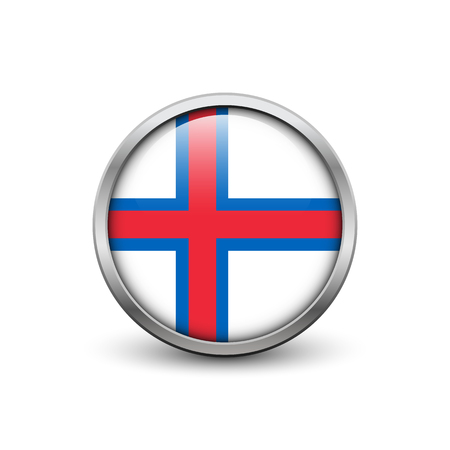 Flag of the Faroe Islands, button with metal frame and shadow