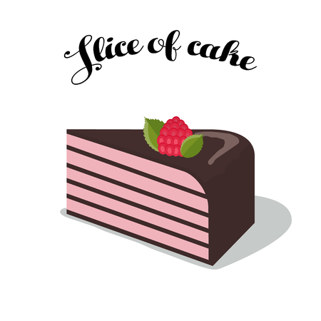 cupcake illustration: Vector illustration of cake with raspberry and dark chocolate