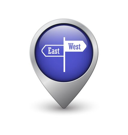 geolocation: East West map pointer, blue with metal frame and shadow Illustration