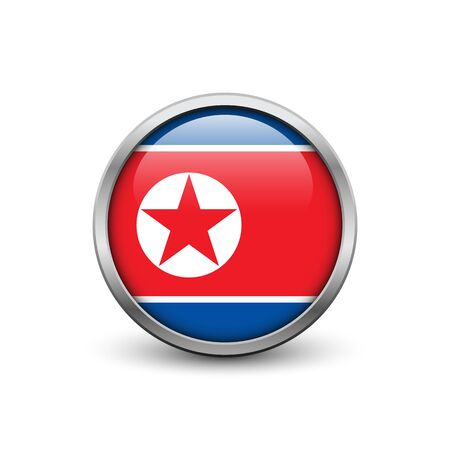 Flag of North Korea, button with metal frame and shadow