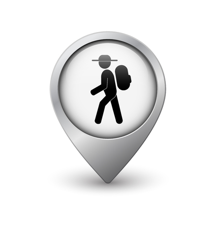 geolocation: Hiker map pointer, white with metal frame and shadow Illustration