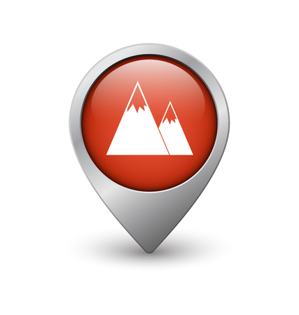 geolocation: Mountain map pointer, red with metal frame and shadow