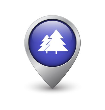 geolocation: Forest map pointer, blue with metal frame and shadow Illustration