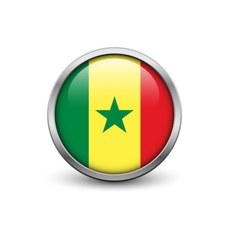 dakar: Flag of Senegal, button with metal frame and shadow