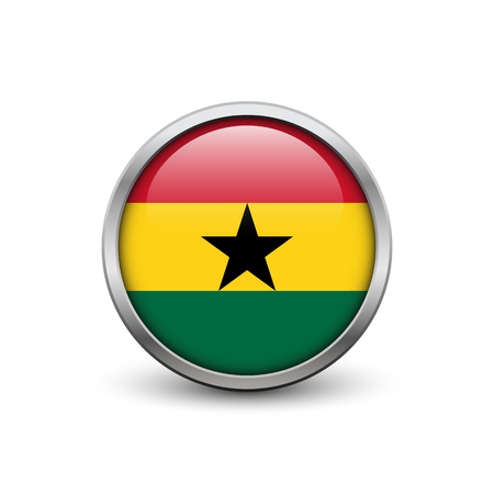 Flag of Ghana, button with metal frame and shadow