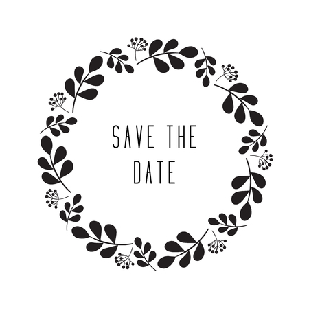 Round floral rustic frame, simple  save the date floral wreaths on white background Ilustrace