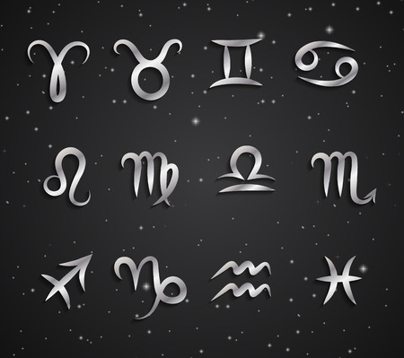 Set of hand drawing zodiac symbols, silver icons with shadow on the background of black starry sky Illustration