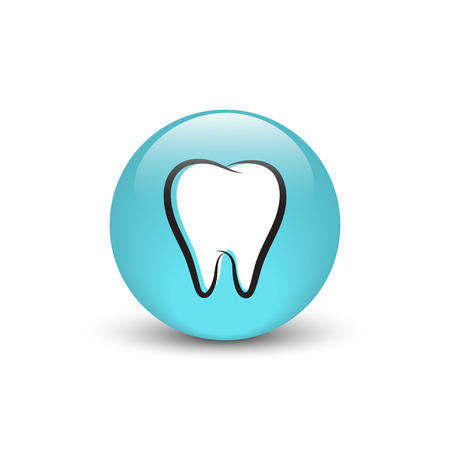 shiny buttons: Tooth vector icon, blue glass button with shadow