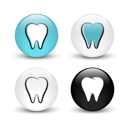 Tooth vector icon, set of glass buttons with shadow
