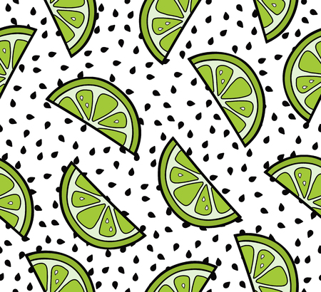 Lime slices summer seamless pattern on the seeds background