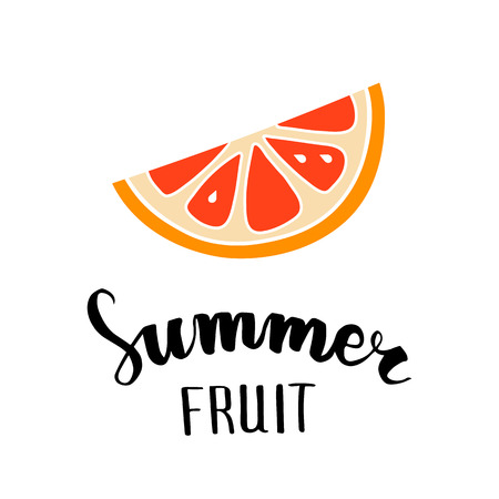 Grapefruit flat icon, symbol of summer, hand lettering