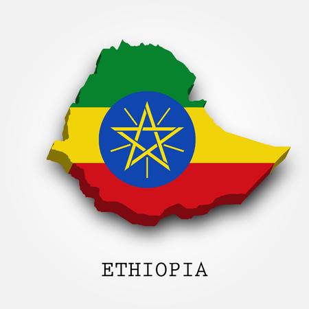 Ethiopia 3D map-flag isolated on white background.