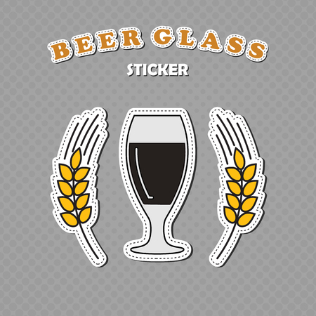 Goblet beer glass and two wheat spikes stickers, beer , vector illustration Illustration