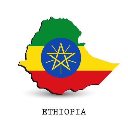 national flag ethiopia: Ethiopia 3D map-flag isolated on white background.