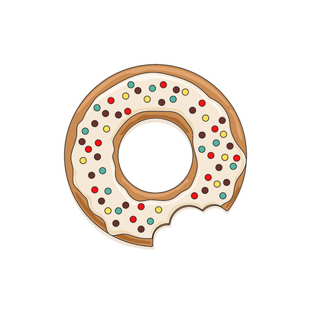 Vector icon of glazed white chocolate donut with dark colored sprinkles Illustration