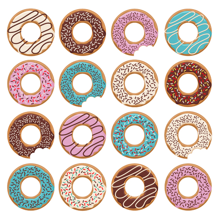 Set of sixteen vector glazed donuts with blue, blue and chocolate cream
