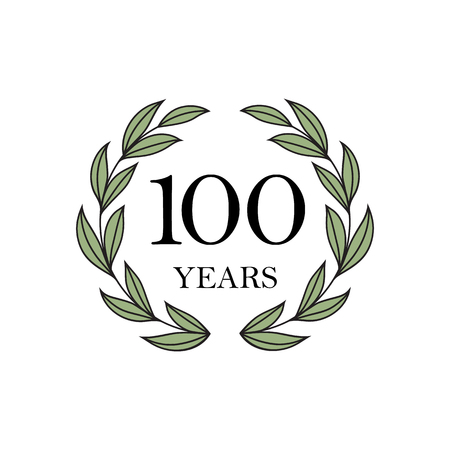 100th anniversary with floral laurel wreath