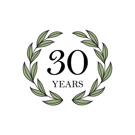 30th anniversary with floral laurel wreath Illustration
