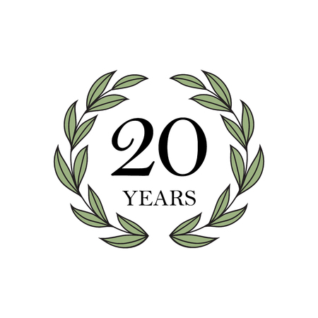 20th anniversary with floral laurel wreath 向量圖像