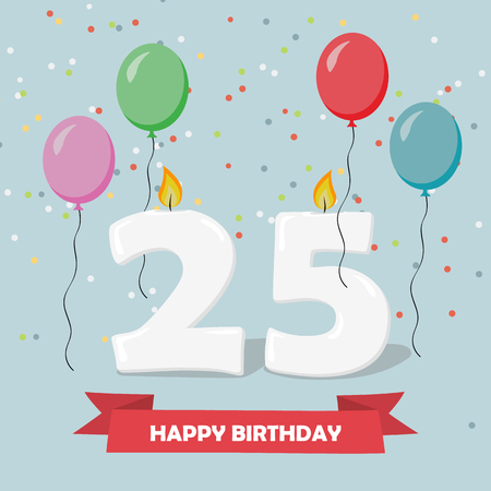 25 years celebration. Happy Birthday greeting card with candels, confetti and balloons.