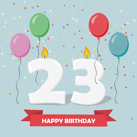 23 years celebration. Happy Birthday greeting card with candels, confetti and balloons.