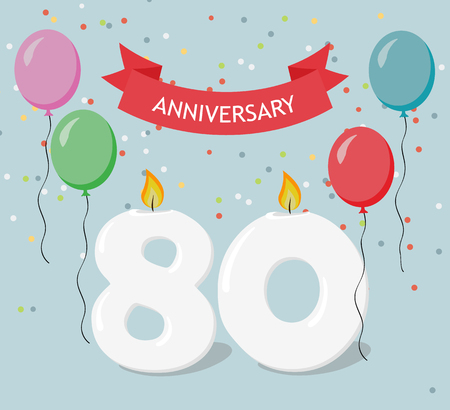 Eighty years anniversary greeting card with candles, confetti and balloons