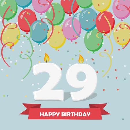 29 years celebration. Happy Birthday greeting card with candles, confetti and balloons.