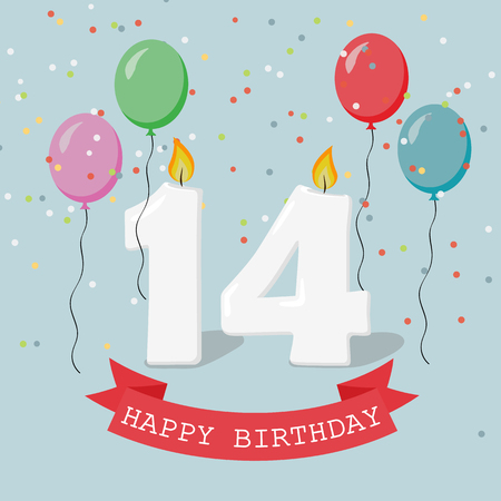 Fourteen years anniversary greeting card with candles, confetti and balloons.