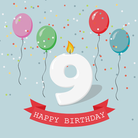 Happy Birthday anniversary greeting card with number Nine, balloons, ribbons and confetti Illustration