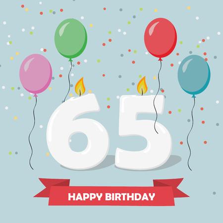 65 years selebration. Happy Birthday greeting card with candles, confetti and balloons. Illusztráció
