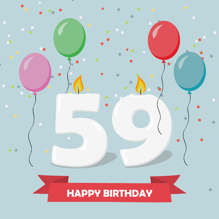 59 years selebration. Happy Birthday greeting card with candles, confetti and balloons. Ilustrace