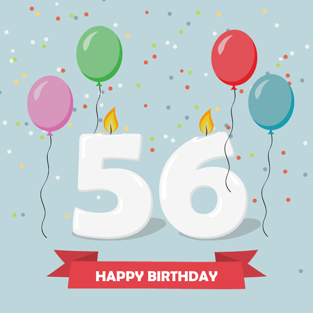 56 years selebration. Happy Birthday greeting card with candles, confetti and balloons. Ilustrace