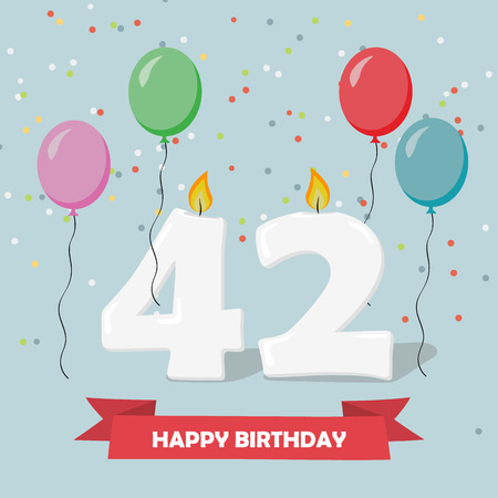 42 years selebration. Happy Birthday greeting card with candles, confetti and balloons.