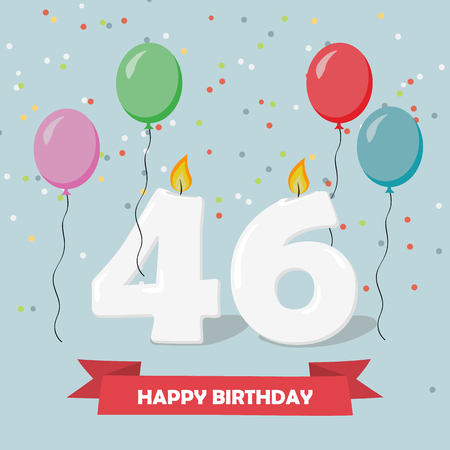 46 years selebration. Happy Birthday greeting card with candles, confetti and balloons. Ilustrace