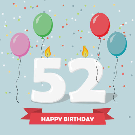 52 years selebration. Happy Birthday greeting card with candles, confetti and balloons.
