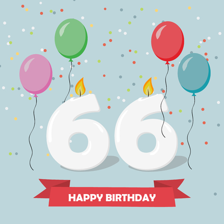 66 years selebration. Happy Birthday greeting card with candles, confetti and balloons.