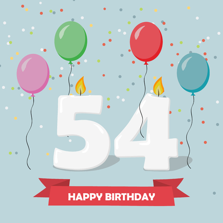 54 years selebration. Happy Birthday greeting card with candles, confetti and balloons.