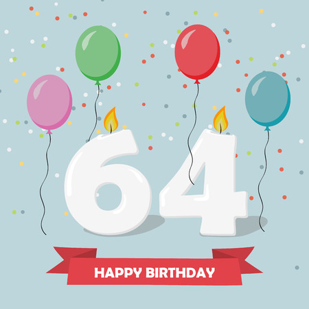64 years selebration. Happy Birthday greeting card with candles, confetti and balloons. Ilustrace