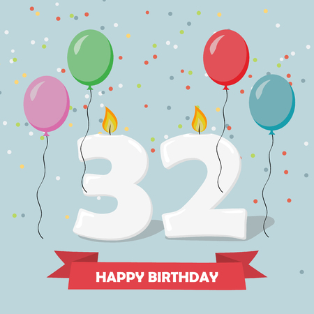 32 years anniversary greeting card with candles, confetti and balloons. Ilustração