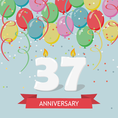 37 years anniversary greeting card with candles, confetti and balloons. Ilustrace