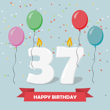 37 years anniversary greeting card with candles, confetti and balloons. Illustration