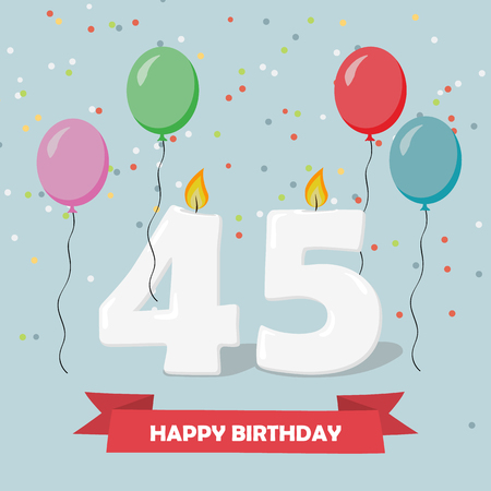 45 years selebration. Happy Birthday greeting card with candles, confetti and balloons.