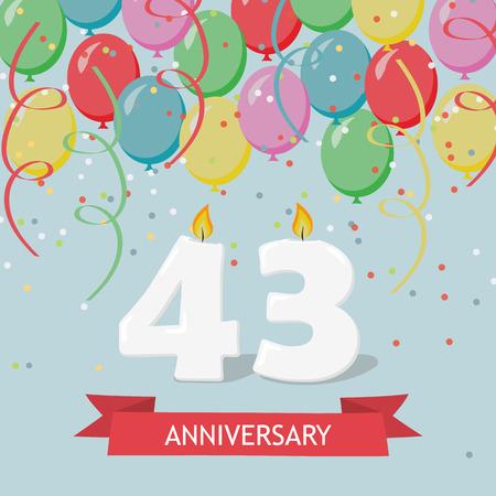 43 years selebration. Happy Birthday greeting card with candles, confetti and balloons. Illusztráció