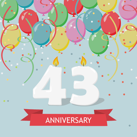 43 years selebration. Happy Birthday greeting card with candles, confetti and balloons. Illustration