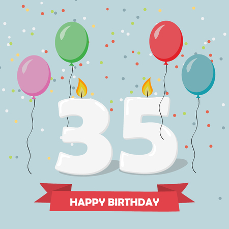 35 years anniversary greeting card with candles, confetti and balloons.